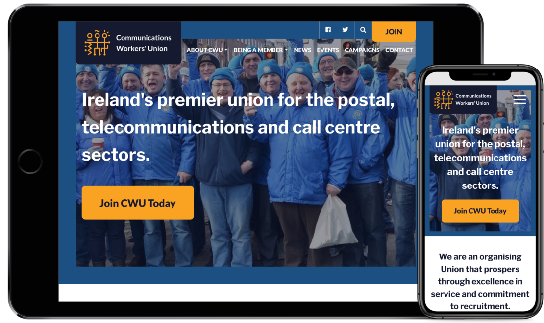 Communications Workers' Union working on mobile and tablet devices